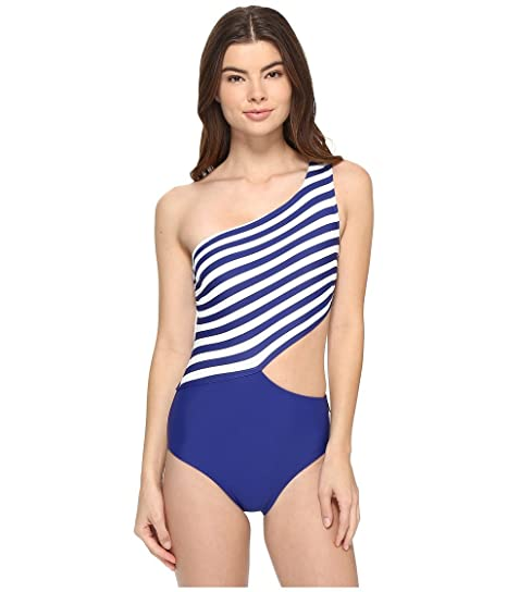 5a2bab0049b MICHAEL Michael Kors Womens Stable Stripe One Shoulder Cut Out One-Piece