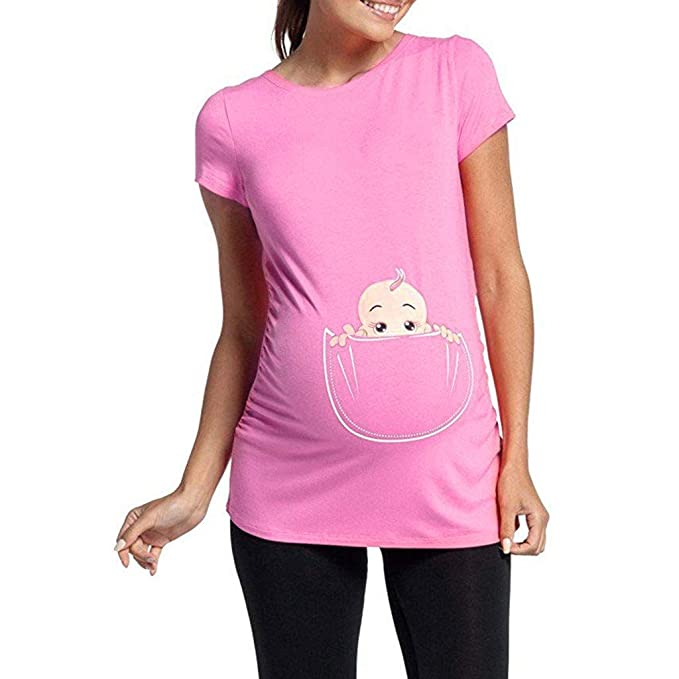 Daringjourney Cuello Redondo Mujer Embarazada Camisa Estampada Rayas graciosas Lindas de bebé Camiseta de Manga Corta de Maternidad Camisa Suelta de ...
