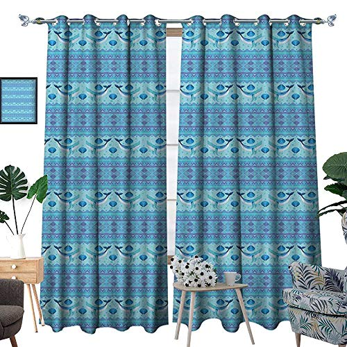 Wide Curtains Ocean Inspired Pattern with Ethnic Geometrical Borders Fish and Scallops Decor Curtains by Turquoise Lilac Blue ()