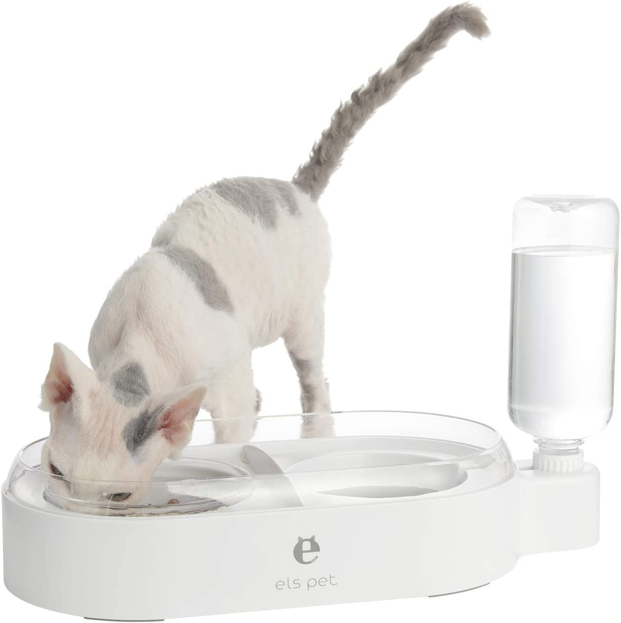 Double Dog Cat Bowls, Gravity Food and Water Bowl, Pet Automatic Drinking Dispenser Detachable Transparent Glass Feeder Bowls No-Spill Raised Bowl for Small Dogs and Cats