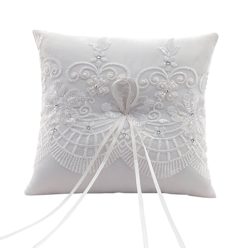 Swirl color crema cuadro decorativo boda un cojín bordado a mano, 7,5-pulgadas-cuadrado SwirlColor