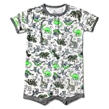 Infant Baby Boys Girls Short Sleeve Romper Summer Outfit Snap up Creeper 3-24M (3-6 Months, Dinosaur)