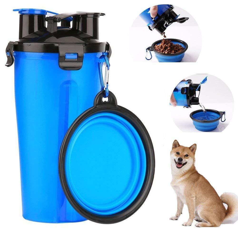 2 en 1 Bouteille d'eau et de nourriture avec deux bols pliables pour les chiens, gamelle portable de voyage / distributeur d'eau extérieur des petits animaux pour la randonnée, le voyage ou les autres activités en dehors -- Rouge Lomire