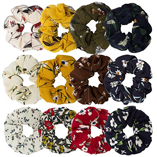 Cavetee Hair Scrunchies For Women, 12 Pack Elastic Hair Scrunchies Colorful Scrunchy Hair Bobbles Scrunchies For Hair Soft Hair Ties Hair Bands, 12 -