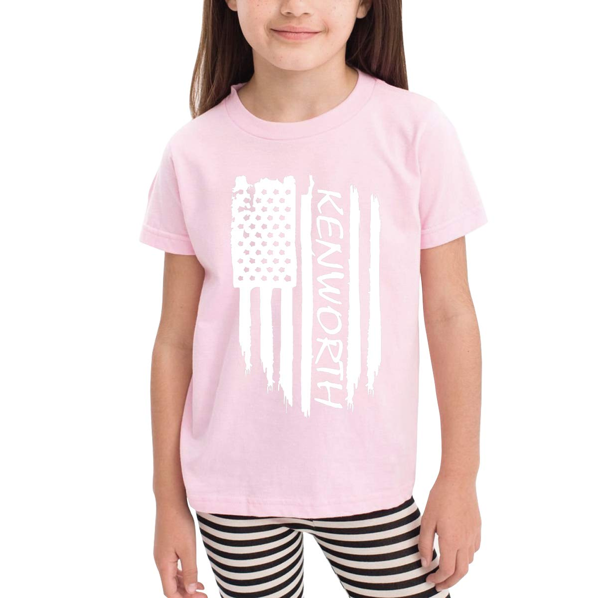 Kids T-Shirt Tops Black American Flag Kenworth Unisex Youths Short Sleeve T-Shirt
