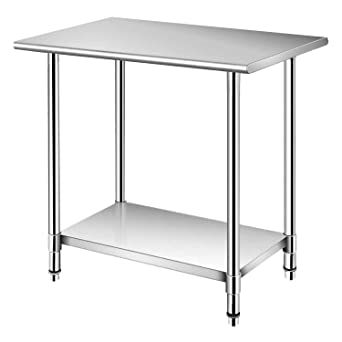 Amazon Com Nisorpa Commercial Work Table 36x24 Stainless Steel Food Prep Table With Adjustable Under Shelf Kitchen Steel Top Worktable Laundry Garage Utility Catering Work Bench Industrial Scientific