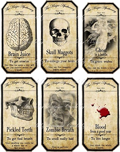 Halloween skull blood 6 large bottle labels stickers laminated ready to use party decoration -
