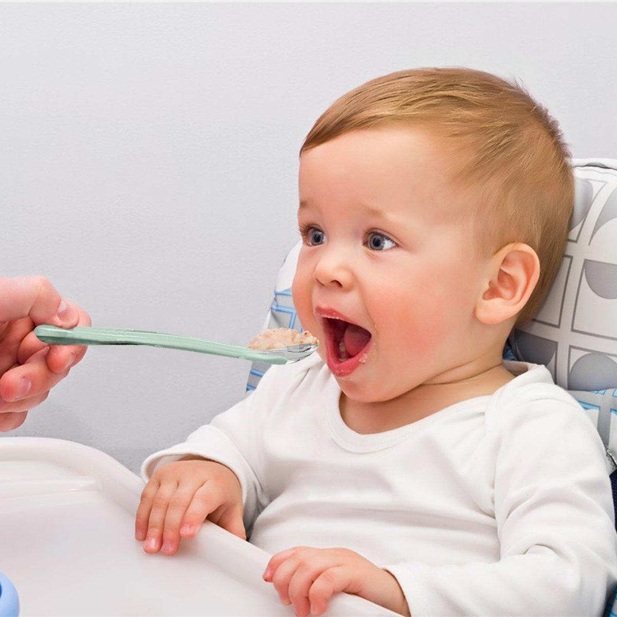 SONARIN Baby Silikon L/öffel Baby Weaning L/öffel 100/% Lebensmittelqualit/ät Material Komfortable leicht sauber BPA frei 1 Packung biegsam ermutigt unabh/ängige Baby F/ütterung,Set 2 Farben,gr/ün//lila