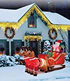 New 10 FT long Inflatable Happy Santa sleigh With Reindeer 10pcs LED Lights Christmas X'mas Decoration