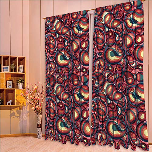 ZHICASSIESOPHIER Finel Kids Curtains for Living Room Bedroom Window Curtains Baby Room Lovely Children Curtains Drapes,Ethnic Sprit in a Funky Inspired Graphic Design 84Wx63L Inch ()