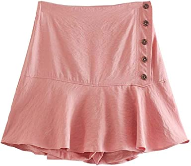 Malcolm12311 Skirt Mini Falda con Botones Laterales para Mujer ...