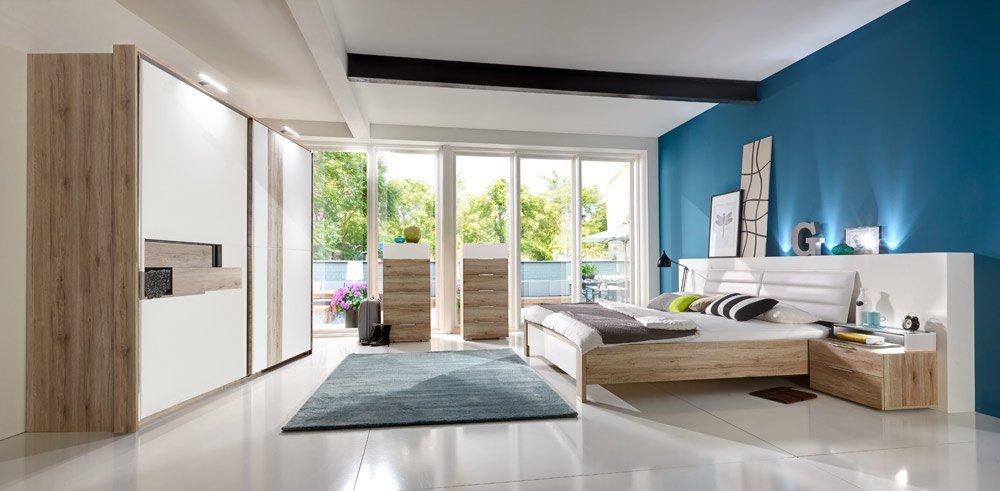 4-tlg. Schlafzimmer in San Remo Eiche Nachb.mit Schrankfront, Bettpolster und Abs. in Alpinweiß, Schwebetürenschrank, Futonbett und 2 Nachtschränken