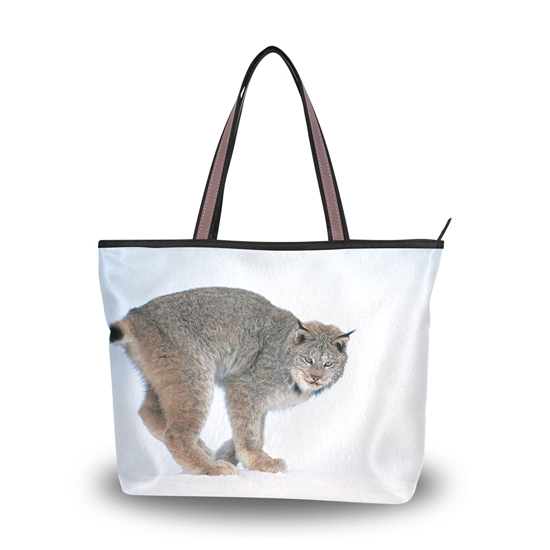 Leezone Lynx Printing Microfiber Shoulder Handbag for Woman