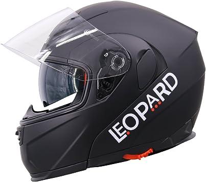 - Motorcycle ECE 2205 Approved Matt Black XS 53-54cm Leopard LEO-828 Double Visor Full Face Motorbike Helmet