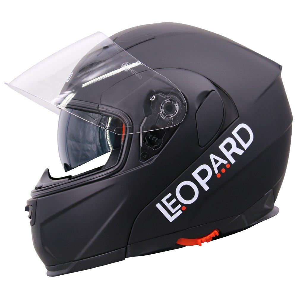 59-60cm Extra Iridium Visor Leopard LEO-838 Modular Flip up Front Motorbike Motorcycle Helmet Pink L