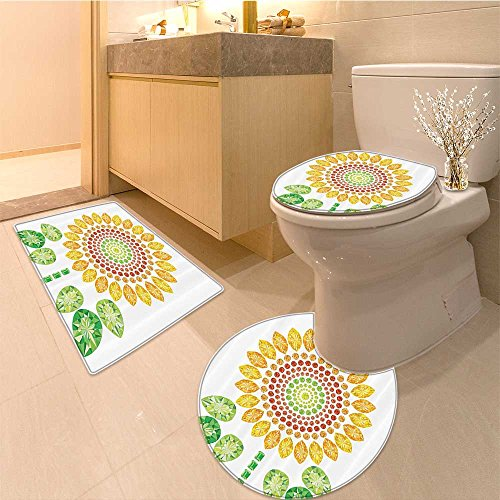 Pear Canister - 3 Piece Toilet mat setSun Round Sun Like With And Pear Prints Wonders Of Design Yello White Green Textures Non-Slip Bathroom Mats Contour Toilet Cover Rug