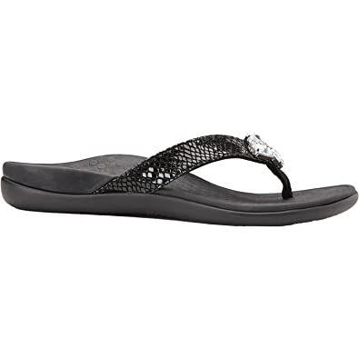 Vionic Tide Jewel- Womens Flip Flop Sandal Black Snake - 11 Medium 8bkHm