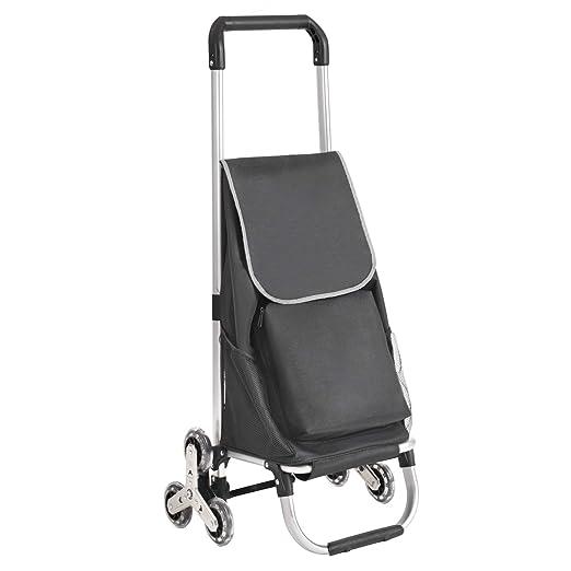 SONGMICS Carrito de la Compra Plegable para Subir Escaleras con 6 Ruedas, con Bolsa Aislante, Capacidad de Carga de 30 kg, Negro KST05BK