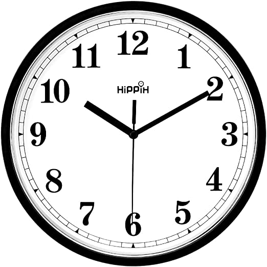 Hippih Black Wall Clock Silent Non Ticking Quality Quartz 10 Inch Round Easy to Read For Home Office School Clock 2 pack