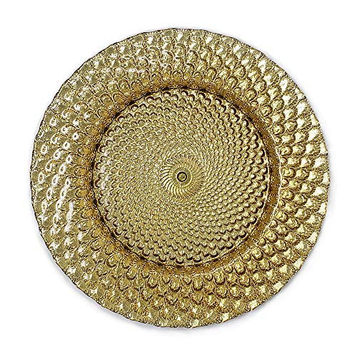 Elegant Classy Royal Shiny Gold Seashell Embossed Glass Dinnerware 13