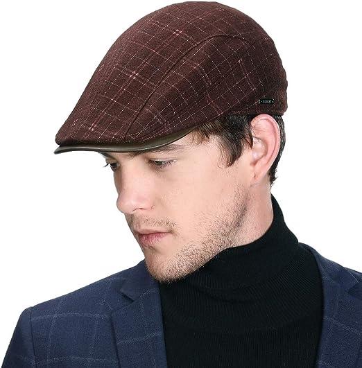 Winter Duckbill Cap Mens Golf Irish Ivy Flat Gatsby Newsboy Hat Drving  Visor Cold Weather Plaid Check Wine Red at Amazon Men's Clothing store