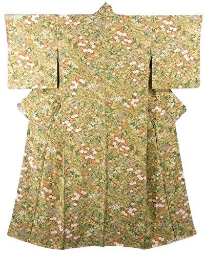 リサイクル 着物 小紋 正絹 袷 花模様 裄63.5cm 身丈156cm
