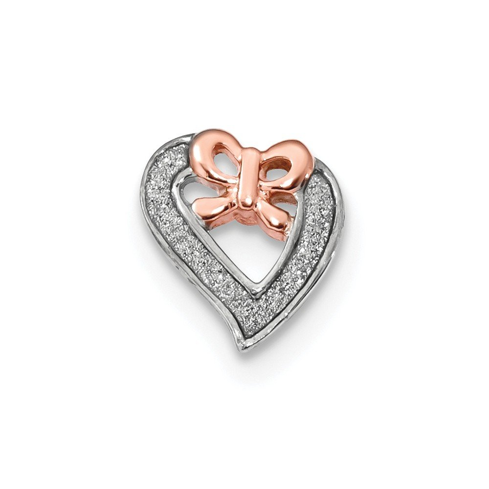 Diamond2Deal 925 Sterling Silver Rhodium-plate Rose-tone Glitter Enamel Chain Slide Pendant