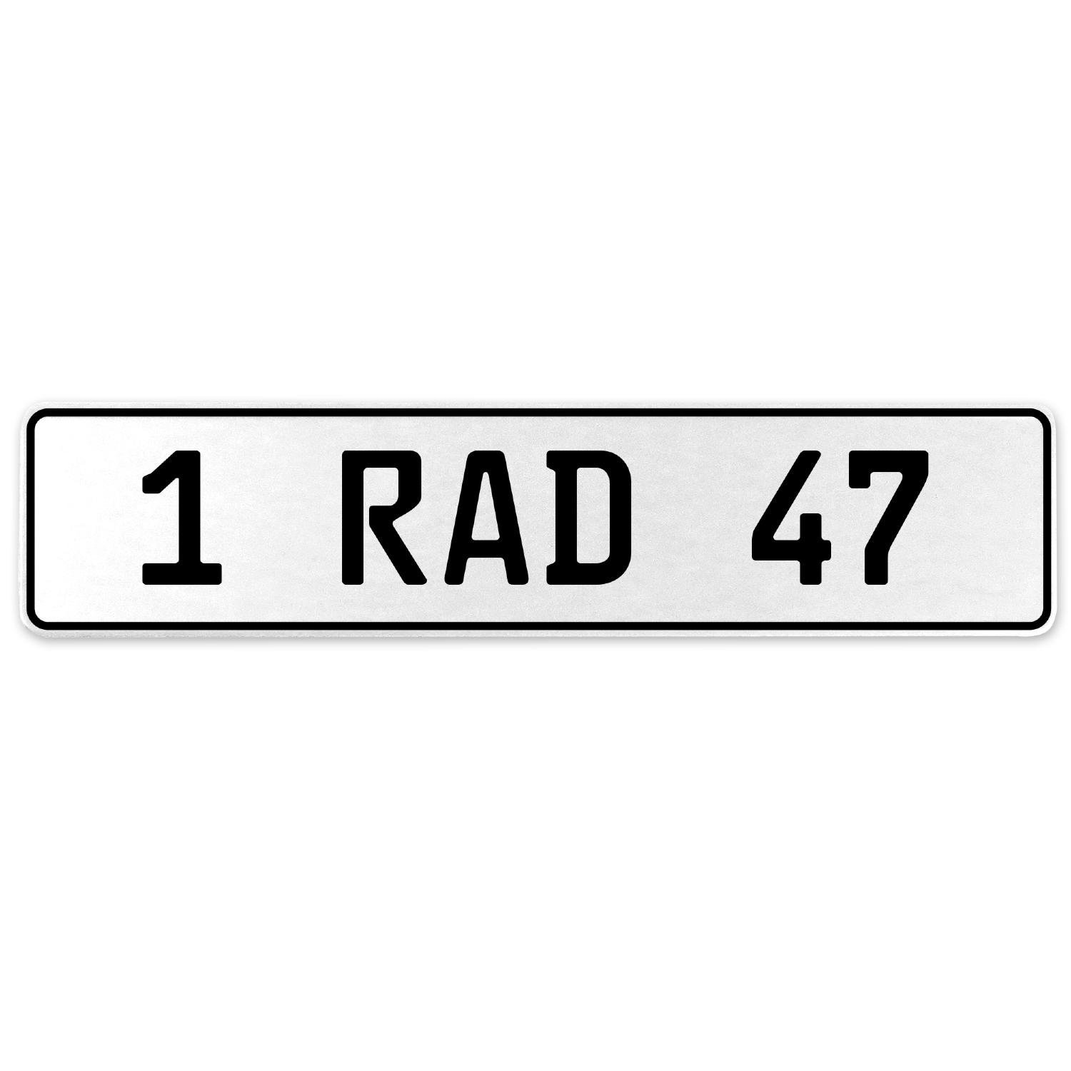 Vintage Parts 554050 1 RAD 47 White Stamped Aluminum European License Plate