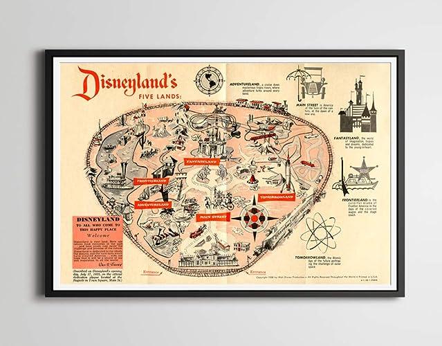 Adventureland Disney World Map.Amazon Com Vintage 1958 Disneyland Park Map Poster 24 X 36