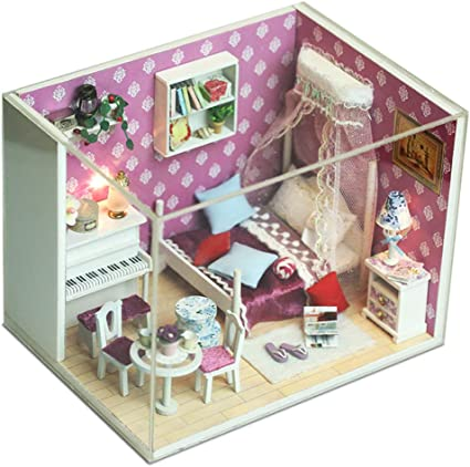 Handmade Miniature Wooden DollHouse DIY Light House LED  for Birthday Gift