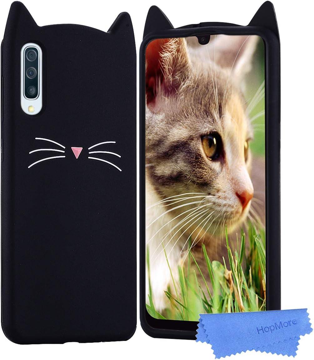 HopMore Chat Coque pour Samsung Galaxy A70 2019 Silicone Souple Motif Cat Kitty 3D Etui Étui Antichoc Ultra Mince Fine Housse Protection pour Fille ...