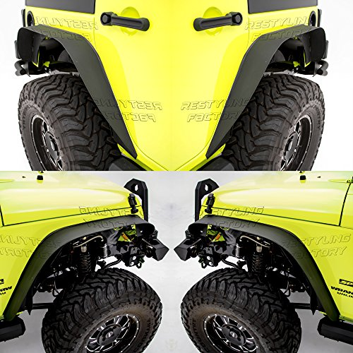 Restyling Factory -Black Textured Flat Metal Steel Front+Rear Fender Flares for 07-17 Jeep Wrangler JK