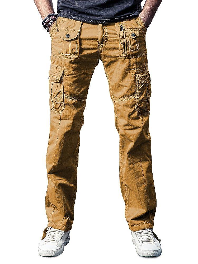 OCHENTA Mens Cotton Washed Multi Pockets Military Cargo Pant Grey