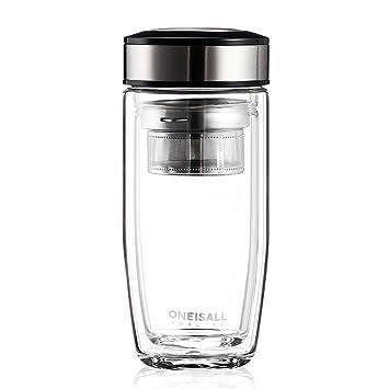 weiju fmgybl015 11 oz/380ml botella de agua potable de vidrio, cristal de borosilicato