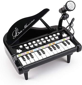 Amy & Benton Piano de Juguete para bebés de 1 2 3 años, Juguetes de Teclado de Piano Musical para niños pequeños, 24 Teclas Negras