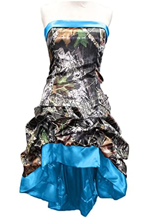 Belle Lady Chic Camo Prom Party Dress Short Hi Lo Strapless Wedding