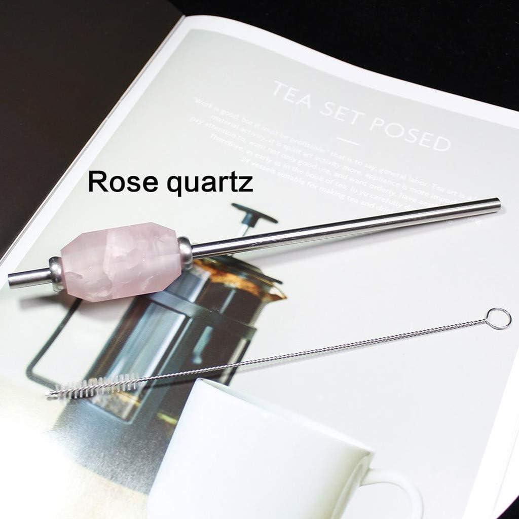 Kiminana Crystal Healing Straw Stainless Steel Reusable Rose Quartz Straws with Brush