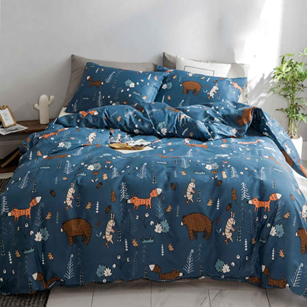 CLOTHKNOW Toddler Kids Twin Duvet Cover Sets Cotton Boys Girls Navy Blue Bear Fox Rabbit Twin Bedding Sets Woodland Theme 3 Pcs Comforter Cover Sets with Zipper Closure 2 Pillowcases by CLOTHKNOW