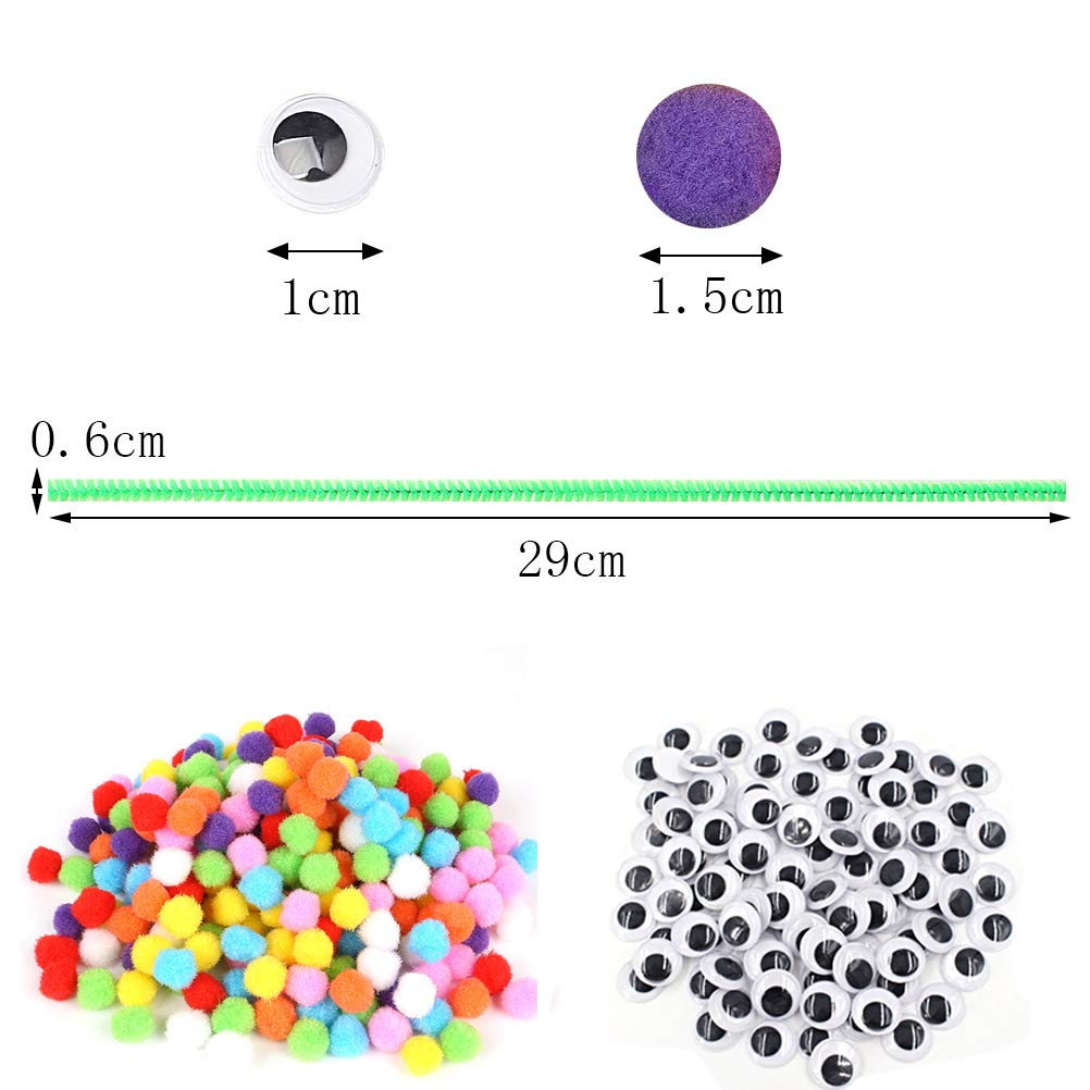 Craft Supplies Set Including 200 PCS Chenille Stems Color Scissor 650 Pcs Pipe Cleaners Set 250 Pcs Pom poms and 200 PCS Self-sticking Wiggle Eyes for DIY School Art Supplies Creative Crafts Decorat