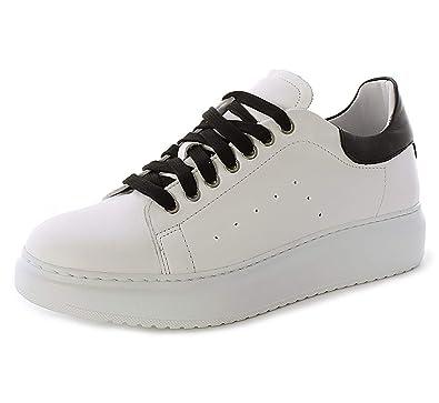 Sneakers in Vera Pelle da Uomo con Suola Alta (40 EU, Bianco
