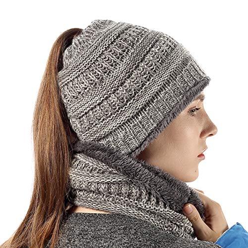 Womens Beanie Tail Soft Knit Infinity Scarf High Bun Ponytail Beanie Light Gray -