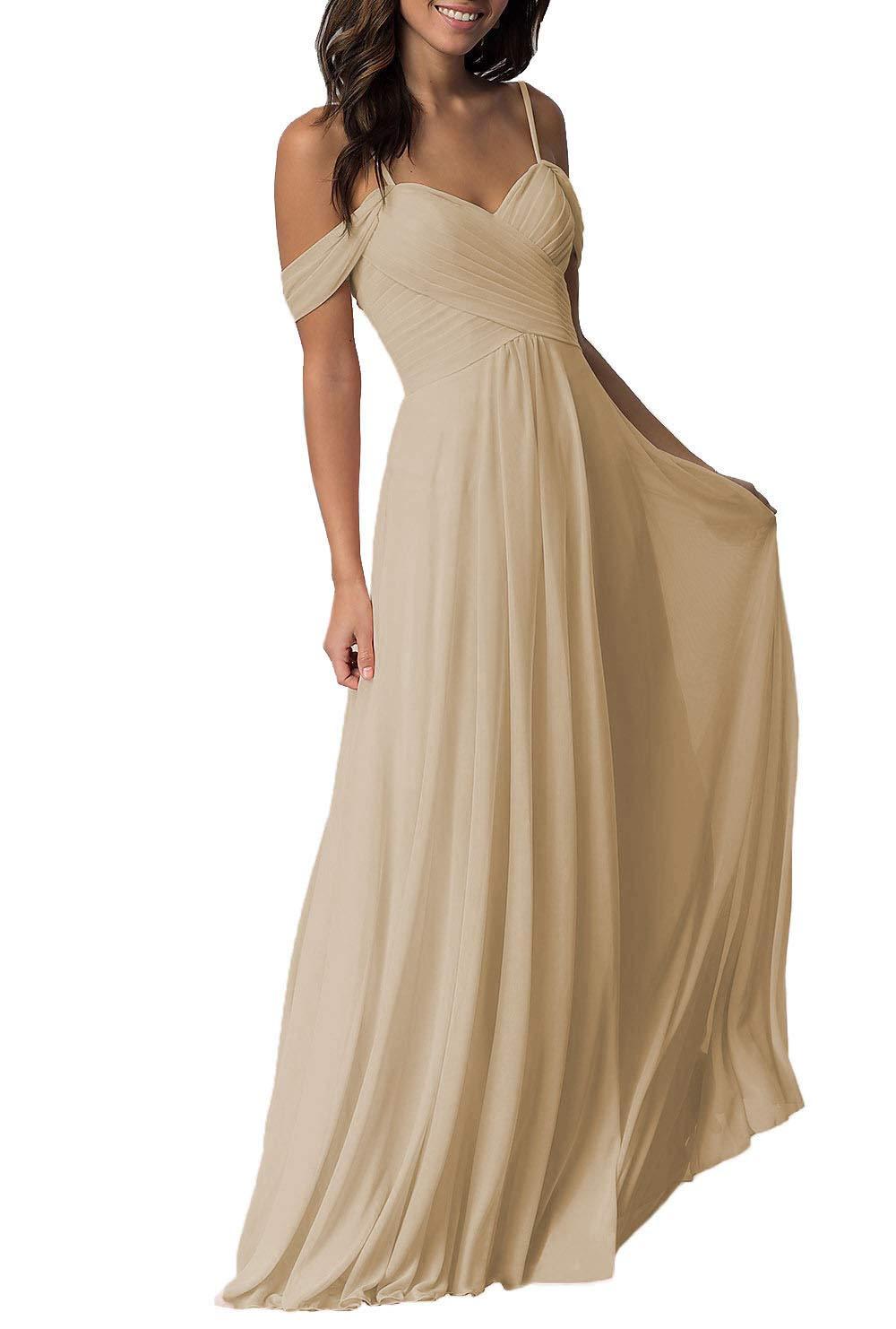 Shoulder Chiffon Wedding Bridesmaid Dresses