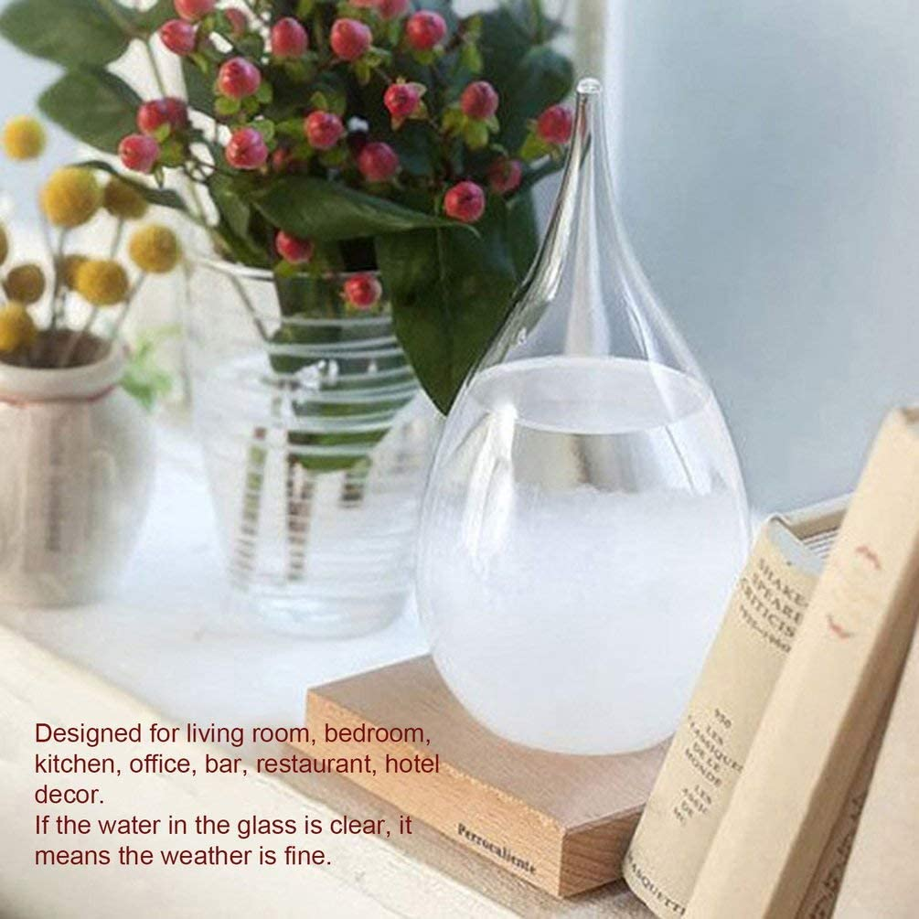 White Mini Storm Glass Bottle Weather Forecast Predictor with Wooden Base Home Decor