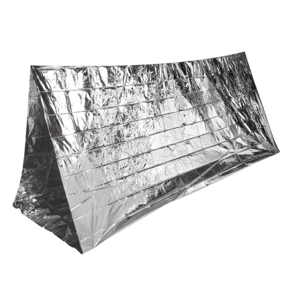 Alomejor Outdoor Couverture de Survie, Tente de Camping Pliante Surface réfléchissante Shelter Couverture d'urgence Accessoire Tente de Camping Pliante Surface réfléchissante Shelter Couverture d'urgence Accessoire