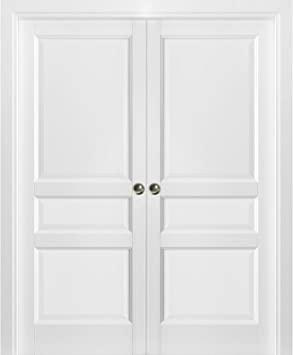French Double Pocket Doors 56 X 80 With Frames Lucia 31 Matte White Kit Trims Rail Hardware Solid Wood Interior Pantry Kitchen Bedroom Sliding Closet Sturdy Door Amazon Com