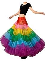 Edith qi Women's Layered Rainbow Tutu Skirt Petticoat Dance Dress Clubwear