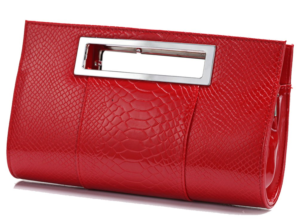 Ilishop Women's Classic Crocodile Pattern Faux Leather Metal Grip Clutch BAG-12540