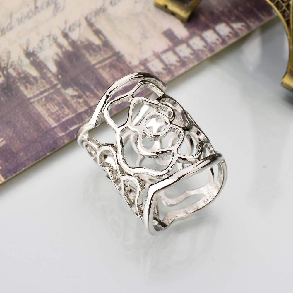AchidistviQ Fashion Women Openwork Carved Rose Pattern Scarf Ring Buckle Shawl Clip Jewelry