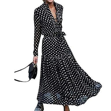 encanto de costo varios estilos estilo limitado Floryday Vestido Largo de Manga Larga con Cuello en V y ...