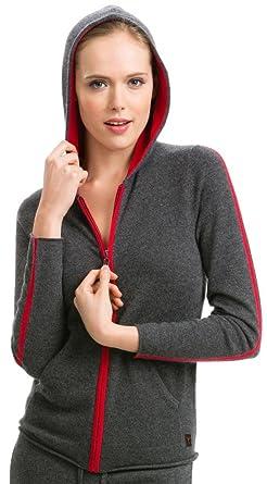 5e1c17f0 Citizen Cashmere Women's Two-Tone Zip Hoodie - 100% Cashmere (Dark Gray)